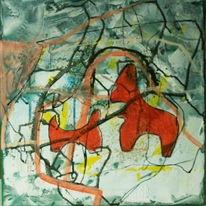 Schnee, Figurativ, Grün, Abstrakt