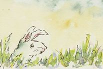 Gras, Aquarellmalerei, Hase, Aquarell