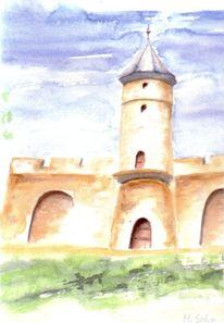 Aquarellmalerei, Turm, Aquarell, Roots