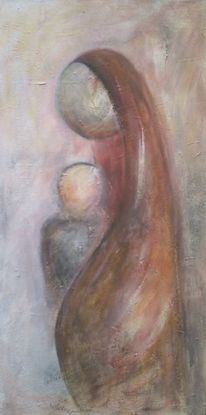 Kind, Mutter, Figur, Acrylmalerei