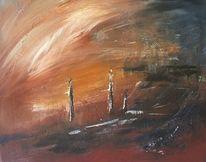 Acrylmalerei, Landschaft, Trostlosigkeit, Menschen