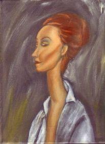 Modigliani, Acrylmalerei, Kopf, Portrait
