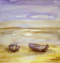 Strand, Aquarellmalerei, Boot, Aquarell