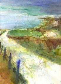Aquarellmalerei, Landschaft, Aquarell, Weg