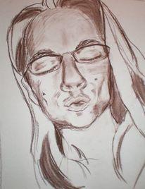 Portrait, Menschen, Zeichnungen, Kuss