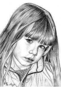 Portrait, Mädchen, Detailtreu, Bleistiftzeichnung