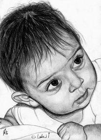 Portrait, Bleistiftzeichnung, Kinder, Detailtreu