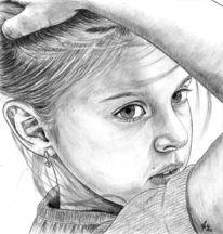 Kinder, Portrait, Bleistiftzeichnung, Mädchen