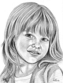 Mädchen, Portrait, Detailtreu, Bleistiftzeichnung