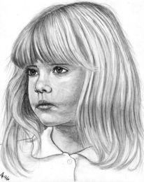Portrait, Detailtreu, Mädchen, Bleistiftzeichnung