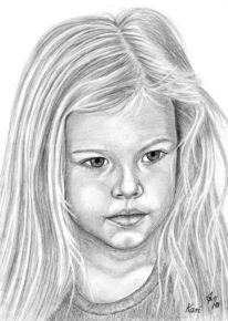 Portrait, Kinder, Bleistiftzeichnung, Mädchen