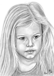 Mädchen, Detailtreu, Portrait, Kinder