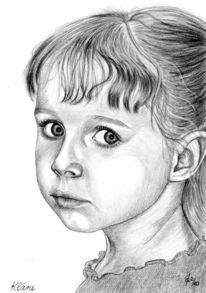 Bleistiftzeichnung, Mädchen, Detailtreu, Kinder