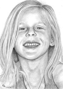 Bleistiftzeichnung, Kinder, Mädchen, Detailtreu