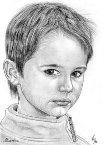 Bleistiftzeichnung, Portrait, Detailtreu, Kinder