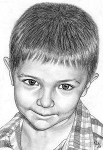 Kinder, Bleistiftzeichnung, Portrait, Junge