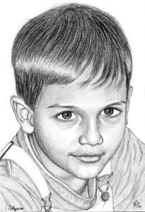 Bleistiftzeichnung, Portrait, Detailtreu, Junge