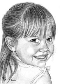 Bleistiftzeichnung, Mädchen, Detailtreu, Portrait