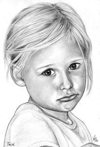 Mädchen, Kinder, Bleistiftzeichnung, Portrait