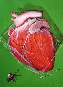 Glaskasten, Ameise, Abstrakt, Herz