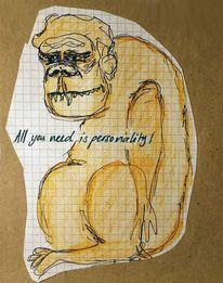 Tinte, Lackaffe, Buntstiftzeichnung, Comic