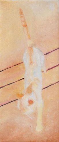 Katze, Bisam, Holz, Ölmalerei