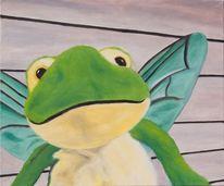 Figur, Pelztiere, Ölmalerei, Frosch