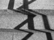 Juni, Schatten, Treppe, Schwarz weiß