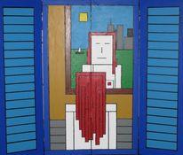 Abstrakt, Frau, Spiegel, Malerei