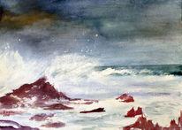 Landschaft, Welle, Aquarellmalerei, Natur