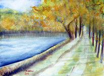 Natur, Allee, Herbst, Aquarellmalerei