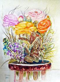 Blumenstrauß, Stillleben, Blumenmalerei, Aquarellmalerei