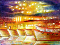 Hafen, Landschaft, Boot, Aquarellmalerei