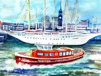 Aquarellmalerei, Hamburg, Schiff, Hafen