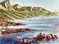 Meer, Landschaft, Berge, Aquarellmalerei