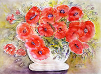 Aquarellmalerei, Stillleben, Blumenmalerei, Mohnblumen