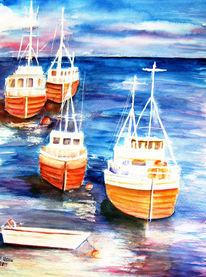 Natur, Landschaft, Aquarellmalerei, Boot