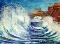 Felsen, Aquarellmalerei, Ozean, Sturm