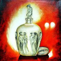 Parfümflakon, Stillleben, Acrylmalerei, Grafik