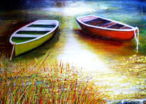 Boot, Acrylmalerei, Landschaft, Natur