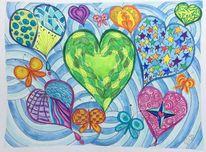 Farben, Lebensfreude, Schmetterling, Herzen