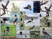 Natur, Vogel, Krähe, Malerei