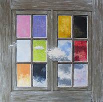 Tagträumen, Ölmalerei, Tisch, Fenster