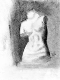 Griechische statue, Zeichnung, Menschen, Körper