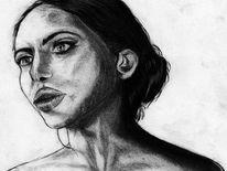 Skizze, Menschen, Kohlezeichnung, Person