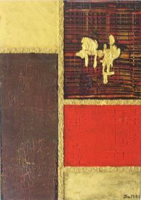 Gold, Krakelieren, Malerei, Abstrakt