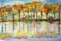 Aquarellmalerei, Indian summer, Lasiert, Aquarell