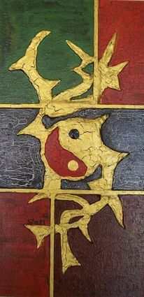 Yang, Acrylmalerei, Gold, Abstrakt