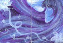 Sommerblau, Farben, Acrylmalerei, Surreal