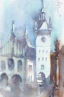 Rathaus, München, Aquarellmalerei, Alt